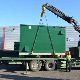 One of our Container Substation's being lifted ready for transportation!